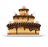 Sweet chocolate cake for birthday holiday. Vector illustration. Isolated on white background. EPS10