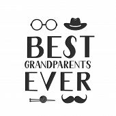 Best Grandparents Ever Hand Lettering With Hat, Mustache, Knitting Glasses And Knitting. Grandparent poster