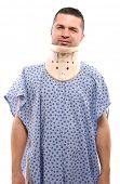 Adult man in pain ready for neck surgery