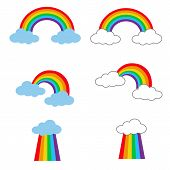 Rainbow Icon On White Background. Flat Style. Rainbow With Cloud Icon For Your Web Site Design, Logo poster