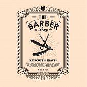 Vintage Frame Border Retro Design Label Barber Shop Border Vector poster