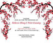 Wedding Invitation Template. Cherry Blossom Card With Hand Drawn Branch Of Red Cherry Flowers Bloomi poster