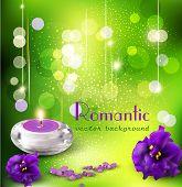 Vector Background with romantische Veilchen und Kerzen auf einem grünen Hintergrund