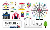 Amusement Park Elements. Ferris Wheel And Roller Coaster, Carnival Rides And Happy Family Amusing Ga poster