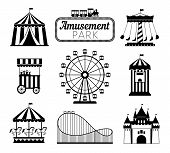 Amusement Park Black Icons. Recreation Fun Attractions Signs, Carnival Carrousel, Circus Ticket Serv poster