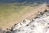 Beautiful Sandy Beach At Bend Of Clear River In Summer In Clear Weather poster