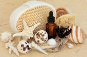 Seaweed spa accessories with bath bombs, aromatherapy essential oil bottle, shells, exfoliating scru