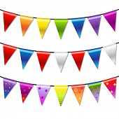Rainbow Bunting Banner Garland, Isolated On White Background