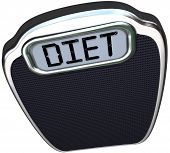 The word Diet on a scale to illustrate the need to eat less and lose weight for better health