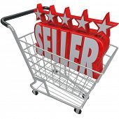 Five Stars and the Word Seller in a shopping cart symbolizing a top rated or reviewed online merchan