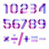 foto of arabic numerals  - Spectral letters folded of paper blue violet  ribbon  - JPG