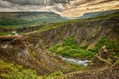 Canyon leading to Glymur, the highest of the Icelandic waterfalls. It is located on the west of the