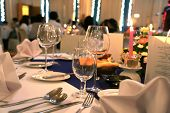 stock photo of table manners  - photograph of table setup at gala dinner - JPG