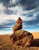 Zen cairn in the desert