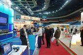 MOSCOW - FEB 28: Visitors at ExpoCoating 2012 in Olimpyisky Sport Complex, Feb 28, Moscow, Russia. It is the only international specialised event in Russia dedicated to coatings and surface treatment.