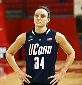 JAMAICA-FEB 2: Connecticut Huskies guard Kelly Faris (34) waits on the court against the St. John's Red Storm at Carnesecca Arena on February 2, 2013 in Jamaica, Queens, New York.