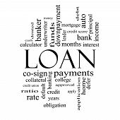 Loan Word Cloud Concept In Black And White