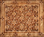 Floral Ornament On Stone Wall In Jaisalmer, India