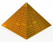pic of metal sculpture  - pyramid made of golden blocks isolated on white - JPG