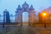 Buda castle at foggy morning, Budapest