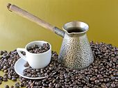 coffee beans,casserole and white cup