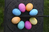 Easter Eggs On Sundial From Above