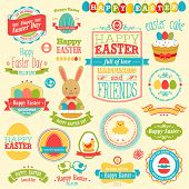 Easter set - labels, ribbons and other elements. Vector illustration.