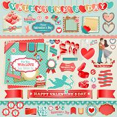 Valentine`s Day set - vintage ribbons and other decorative elements.