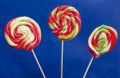 Lollipops over blue background