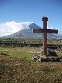 Two Crosses At Mayon Volcano