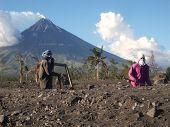 Diggers And Mayon Volcano (Perfect Cone)