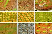 stock photo of baklava  - 9 pieces of baklava and pastry photo - JPG