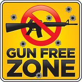 picture of assault-rifle  - Vector Gun Free Zone assault rifle street and building sign shot full of bullet holes - JPG