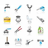 realistic plumbing objects and tools icons