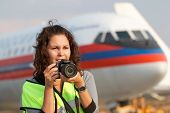 MOSCOW - SEP 1: Female participant of spotting at airport Domodedovo, Sep 1, 2011, Moscow, Russia. S