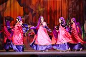 MOSCOW - JAN 28: Participants of Bellydance Superiority of Moscow on stage of  Red October Culture P