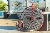 BELGRADE, SERBIA - AUGUST 15: Penny farthing made from coca cola cans on August 15, 2012 in Belgrade