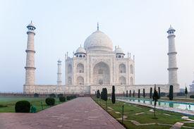 stock photo of mumtaj  - taj mahal a white marble mausoleum in agra - JPG