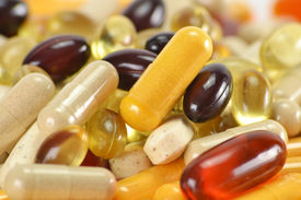 stock photo of prophylactic  - Composition with dietary supplement capsules - JPG