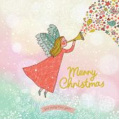 Childish Merry Christmas card in vector. Cute cartoon Fairy in the sky with bokeh effect. Stylish ho