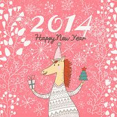 Happy 2014 Year of the Horse. Bright holiday card in vector. Funny cartoon horse in sweater with gif