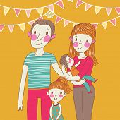 Happy family in vector. Cartoon father, mother, daughter and son in bright colors.