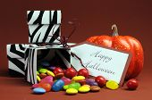 Happy Halloween Trick Or Treat Black And White Zebra Candy Boxes With Orange Pumpkin.