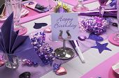 Pink And Purple Theme Party Table Setting Decorations With Happy Birthday Message On Table Stand.