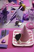 Pink And Purple Theme Party Table Setting Decoration, With Party Hat And Plate Table Setting - Verti
