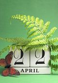 Earth Day, Save The Date White Block Calendar, April 22, With Butterfly And Ferns Against A Green Ba