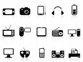 Black Electronic Objects Icons Set