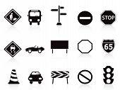 Black Traffic Sign Icons Set