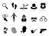 stock photo of sherlock holmes  - isolated black detective icons set on white background - JPG