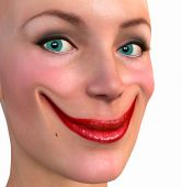 image of unnatural  - A happy Female face with an unnatural smile - JPG